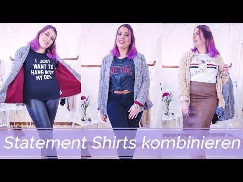 Outfits richtig kombinieren: Statement Shirts Gr. 44/46   Missesviolet 💜