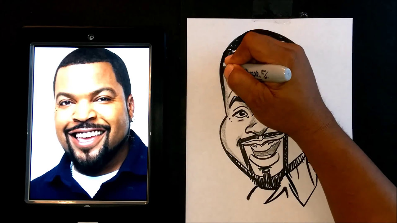 quick caricature tutorial of ice cube by rowser world