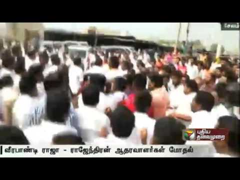 Clash-between-two-groups-of-DMK-cadres-in-Salem-as-they-garland-Annadurais-statue