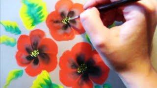Смотреть онлайн Как поэтапно нарисовать красивые маки гуашью