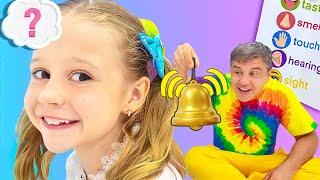 Dad teaches Nastya 5 human senses. Story for kids