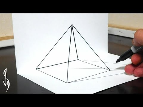 How to Draw a 3D Transparent Pyramid - Simple Trick Art