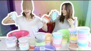 BLINDFOLDED SLIME SMOOTHIE CHALLENGE feat. MY SISTER! (who wins?!)