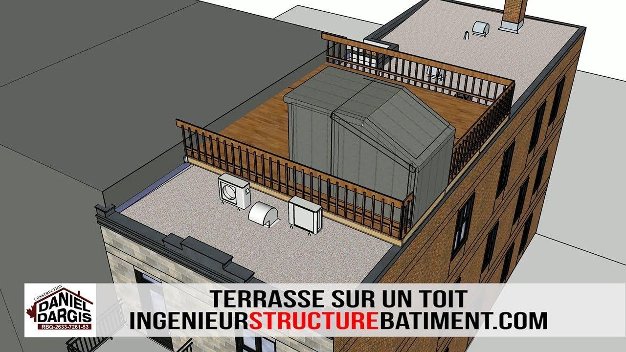 Terrasse sur un toit avec un ingénieur en structure à Montréal