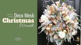 How To Elegant Deco Mesh Poof With Ruffle Method Christmas Wreath For Front Door