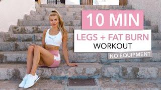 10 MIN LEGS + FAT BURN - tone your thighs, booty & burn calories - No Equipment I Pamela Reif