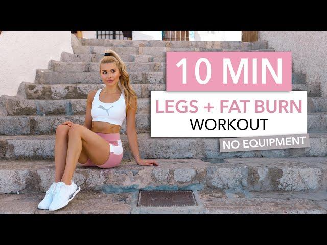 10 MIN LEGS + FAT BURN – tone your thighs, booty & burn calories – No Equipment I Pamela Reif