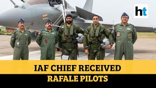 Watch How IAF Chief Greeted Rafale Pilots At Ambala Base; Jet Induction In Aug