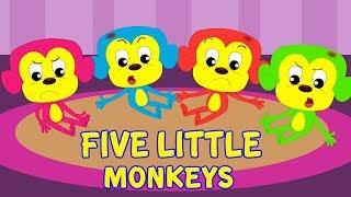пять маленьких обезьян   5 Little Monkeys   Kids Rhymes Russia   русский мультфильмы для детей