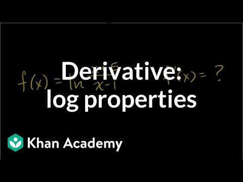 Differentiating logarithmic functions using log properties (video