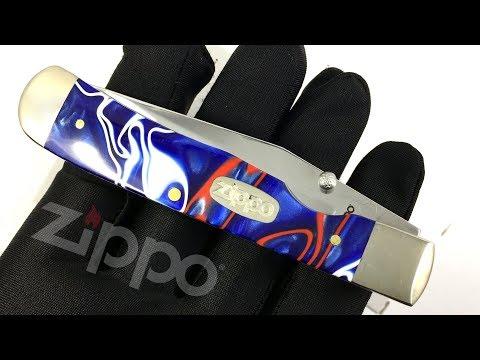 50593 Нож перочинный Zippo Patriotic Kirinite Smooth TrapperLock, 105 мм, синий