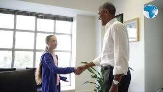 Teenage climate activist Greta Thunberg meets with Barack Obama