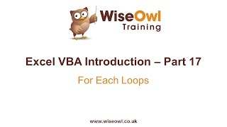 Excel VBA Introduction Part 17 - For Each Loops
