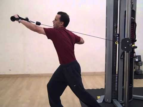 Single arm incline cable press with rotation