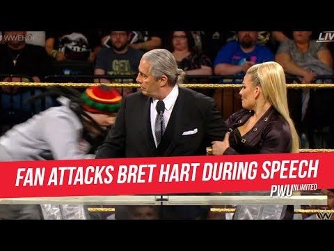 Bret Hart Attacked By Fan During Hall Of Fame Speech, Dash Wilder Knocks Fan Out After