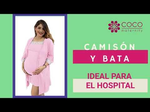 Set bata camisón para lactancia y embarazo color Negro Coco Maternity