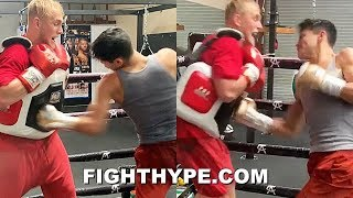 RYAN GARCIA FOLDS JAKE PAUL WITH VICIOUS BODY ASSAULT; WELCOMES HIM TO BODY SHOT CHALLENGE
