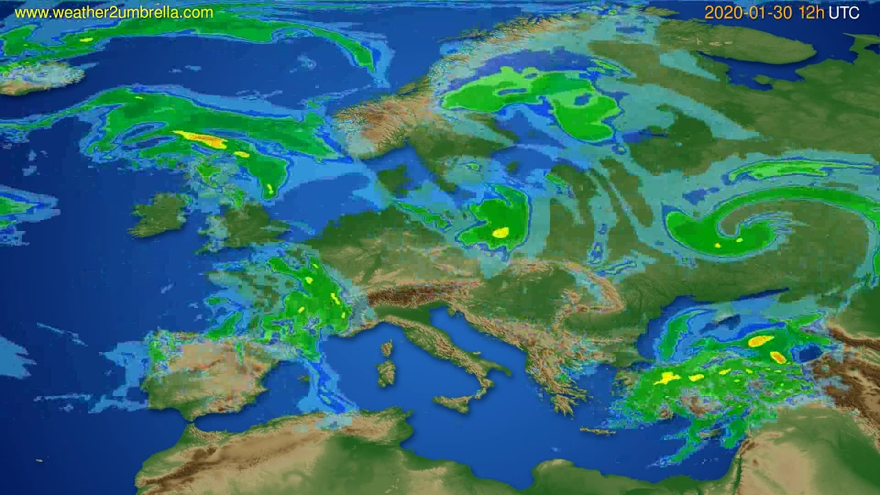 Radar forecast Europe // modelrun: 00h UTC 2020-01-30