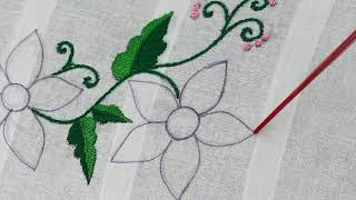 Hand Embroidery Flower Pattern With Feather Stitch | Beads Embroidery | Embroidery Designs