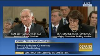 Sen Diane FeinStein and Sen Jeff Sessions AG Confirmation Hearing Exchange
