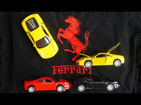 Металлическая машинка 1:32 «Ferrari» 14,5 см. 608D свет и звук, инерционная / Микс