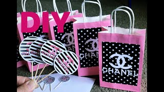 DIY Chanel Theme Party Favors Bags And Cupcakes Toppers|| Marnelli Vidal #chanelthemeparty #diy