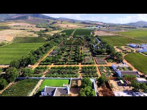 An aerial view of Babylonstoren, near Stellenbosch, South Africa. Filmed using a DJI Inspire 1 drone.