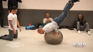 UFC Champ GSP Learns New Tricks On An Exercise Ball