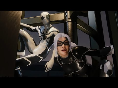 Marvel's Spider-Man  Black Cat Cutscenes with White and Black  Dark Suit