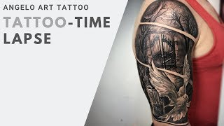 TATTOO ON SHOULDER | TATTOO TIMELAPSE HEAVENS DOOR | DOVE | CANDLE BY @ANGELO.INK