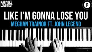 Meghan Trainor - Like I'm Gonna Lose You Karaoke SLOWER Acoustic Piano Instrumental Cover LOWER KEY