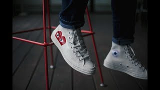 5ecda8493869f0 CDG Play X Converse Chuck Taylor Unboxing   On Feet Review + Supreme    Palace Tees