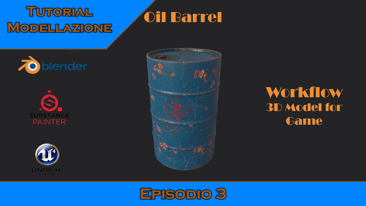 Tutorial workflow 3D model for game (ITA) Blender Oil barrerl Ep.3 End model and UV Mapping