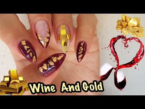 Elegant Nail Art Design, Burgundy & Gold ,banggood