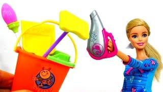 Барби делает уборку в доме. Игры Барби для девочек.
