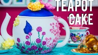How to Make a TEAPOT CAKE fit for a MAD HATTER'S TEA PARTY! Chocolate Cake with SUGAR FLOWERS!