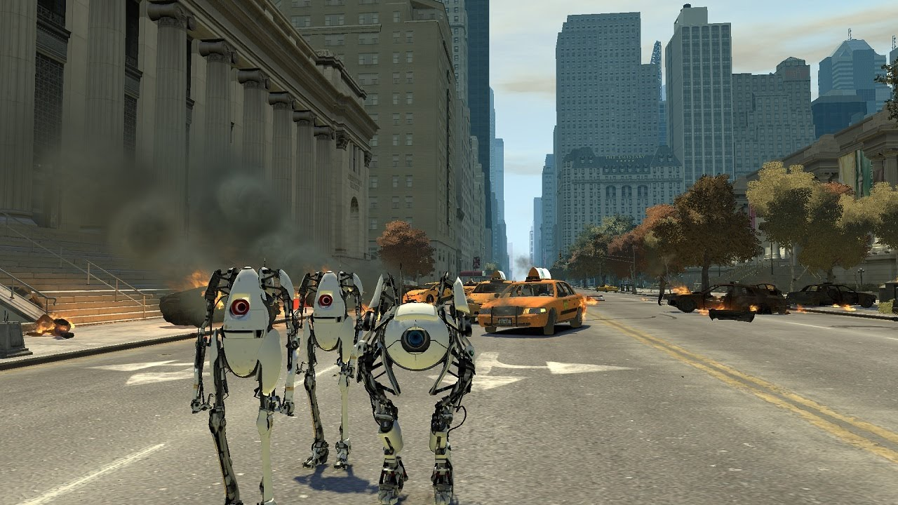 Portal 2's Co-Op Robots Rampage Through Grand Theft Auto IV