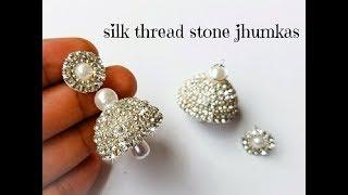 db9f7aaf3 Making Silk Thread Jhumkas Silver Style||Silk Thread Party Wear Jhumkas ( Tutorial)