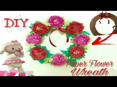 Diy flower wreath with cardboard