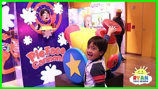 Ryan plays Giant Pie Face Cannon with Chow Crown, Nerf Toys, Play Doh, Transformers and more!