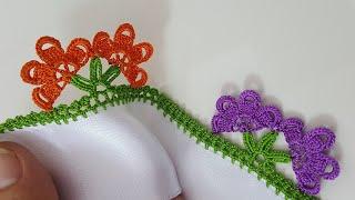 Dalda iki Çiçek Tığ Oyası Yapımı