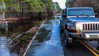 Off Roading Flooded Streets Jeep Wrangler JK Rubicon