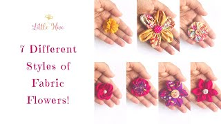 7 Fabulous Fabric Flowers /  How To Make Flowers From Waste Fabric / DIY Fabric Flower No Glue