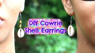 DIY Cowry Shell Earrings