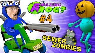 SEWER ZOMBIES vs. SHOTGUN BLAST!  AMAZING FROG HALLOWEEN Part 4 (FGTEEV Pumpkin Head Costume)