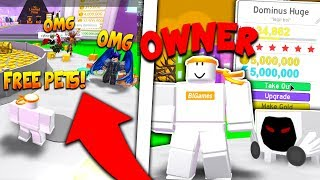*OWNER* JOINS & GIVES EVERYONE RAREST DOMINUS PETS!!? (Troll!) - Roblox Pet Simulator (Update)