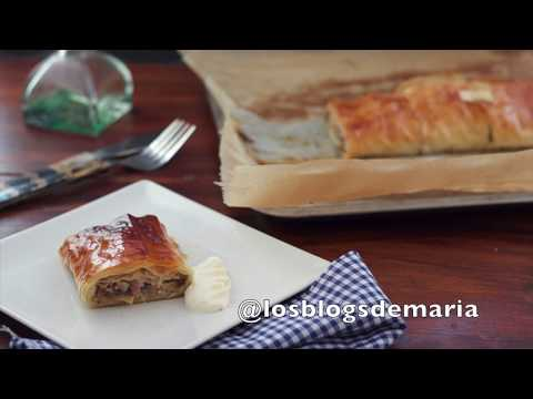 Rollo de pasta philo con champiñones, bacon y rulo de cabra
