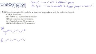 Draw the structural formula for at least one bromoalkene with the molecular formula C5H9Br