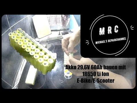 Akku 29,6v 60Ah bauen mit 18650 Li Ion Ebike E Scooter Teil 1