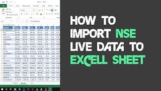 How to Import NSE Live Data into Microsoft Excel Sheet